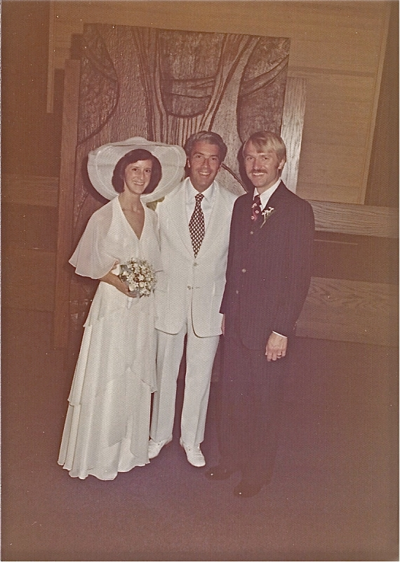 Mary and Don Brown after being married at Christ Church of Oak Brook by Dr. Arthur H. DeKruyter