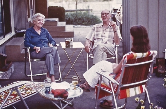 Mildred and Bill Allen sitting and talking at Mary and Don Brown's new house on Oxford