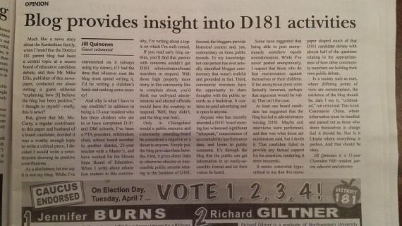 "A column explaining why the ""Hold D181 Accountable"" Blog is good"
