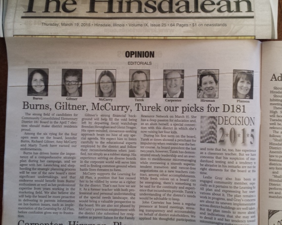 Hinsdalean endorses the candidates!