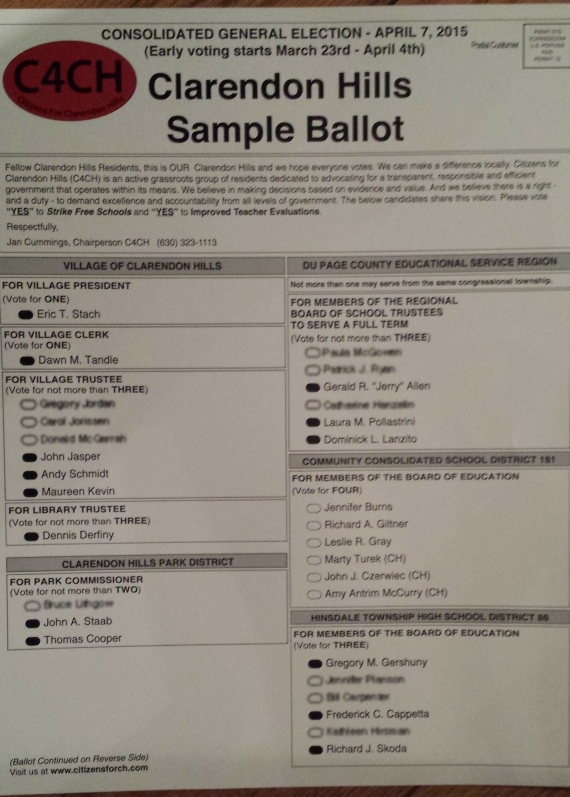 The C4CH sample ballot without the write in or D181