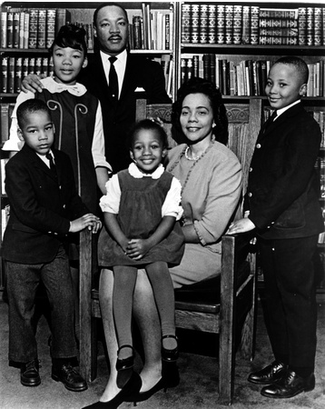 Courtesy of The Atlanta Journal-Constitution King family portrait: The last official portrait taken of the entire family. Photo was taken in the study of Ebenezer Baptist Church in 1966. From left are Dexter King, Yolanda King (standing next to MLK), Martin Luther King Jr., Bernice King (sitting on Coretta's lap), Coretta Scott King and Martin Luther King III.